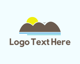 Island - Ocean Sunset logo design