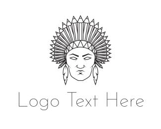 Line Art - Native American logo design