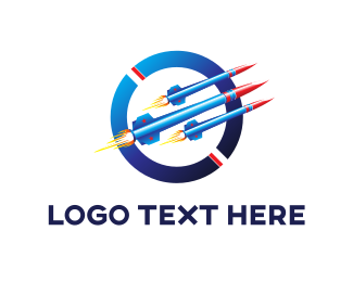 Letter O - Blue Rockets logo design