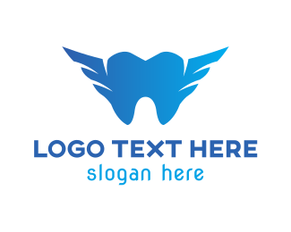 Dentistry - Blue Tooth Wing logo design