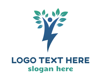 Thunder - Blue Tree Thunder logo design