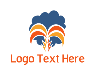 Palm - Orange Tropical Palm logo design