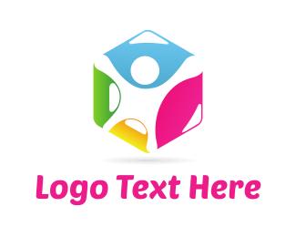 Management - Human Hexagon logo design