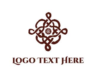 Wrought Iron - Floral Emblem logo design