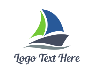 Yacht - Abstract Sail Boat logo design