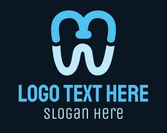 Teeth - Blue M Tooth logo design