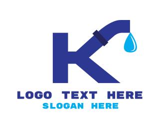 Pipe - Plumbing Letter K logo design