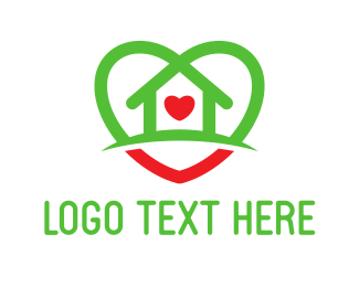Real Estate - House Heart logo design