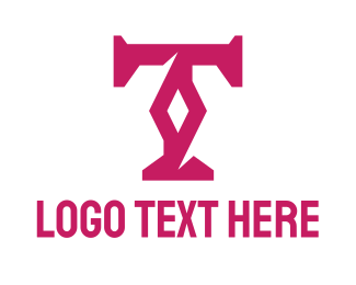 Accessory - Magenta Diamond T logo design
