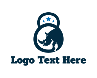 Personal Trainer - Kettlebell Rhino logo design