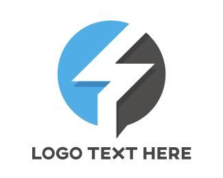 News - Blue Gray Flash Outline  logo design