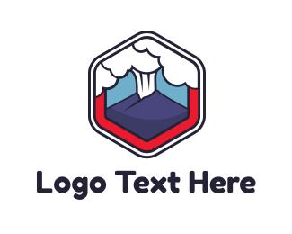 Radiation - Volcano Cloud Signet logo design