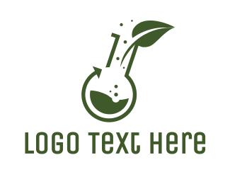 Chemistry - Green Laboratory Leaf logo design
