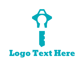 Lock - Blue Key  logo design
