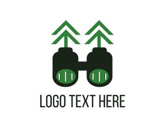 Binocular - Green Binoculars logo design
