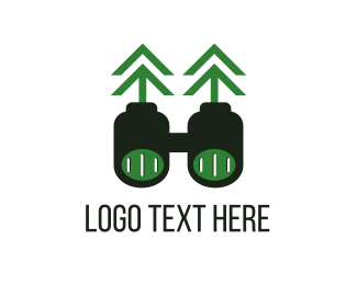 Camp - Green Binoculars logo design