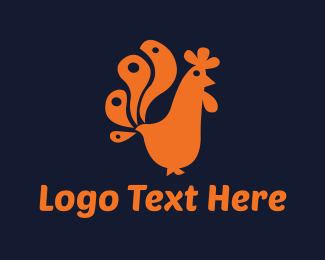 Fowl - Orange Rooster logo design