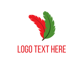 Fly - Red & Green Feathers logo design
