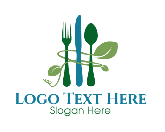 Restaurant - Green Cutlery logo design