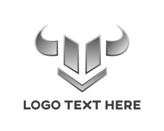 Fierce - Chrome Bull Emblem logo design