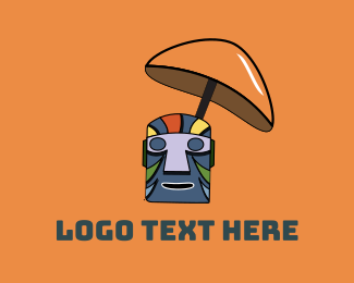 Hawaiian - Tiki Drink Mask logo design