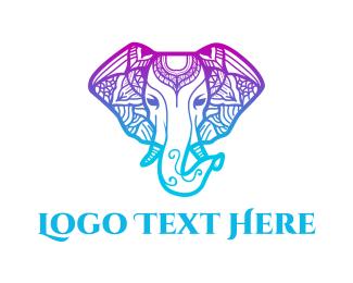 Illustrative - Mandala Elephant  logo design