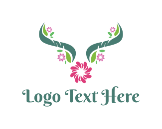 Botanical - Floral Horns logo design
