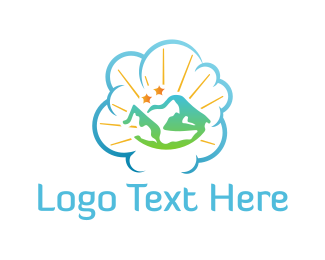 Mountain - Cloud Landscape logo design