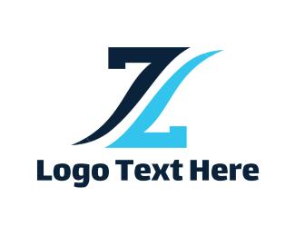 Number 7 - Blue Letter Z logo design