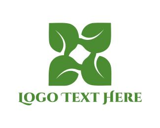 Bio - Green X Leaf logo design