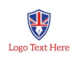 Newspaper - English Pen Emblem logo design