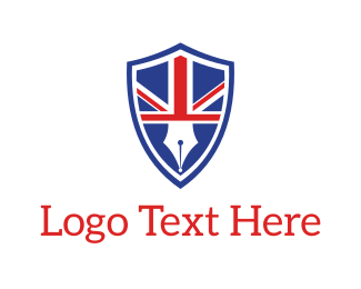 Uk - English Pen Emblem logo design