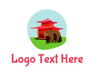 Pagoda - Asian Bear logo design