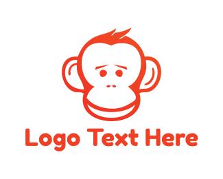 Chimp - Red Monkey logo design