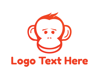 Chimpanzee - Red Monkey logo design