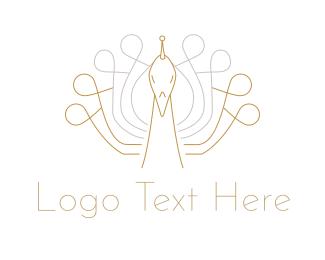 Peacock - Golden Peacock logo design