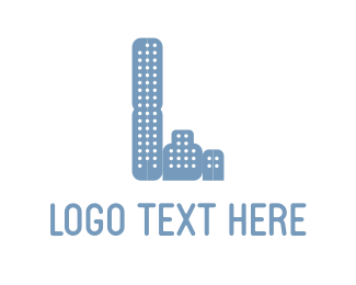 Build - Three Blue Buildings logo design