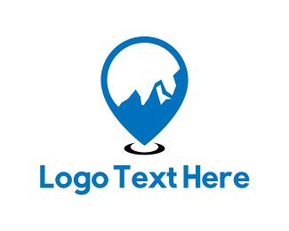 Skiing - Mountain Locator logo design