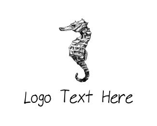Monochrome - Black Seahorse logo design