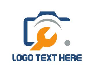 Repair - Camera & Wrench logo design