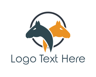 Equestrian - Horse Couple logo design