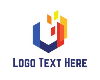 Letter U - Abstract Hexagon logo design