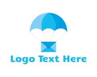Parachute - Blue Airmail logo design