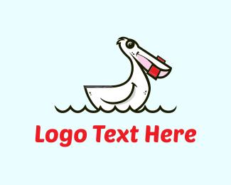 Swimming - White Pelican Cartoon logo design