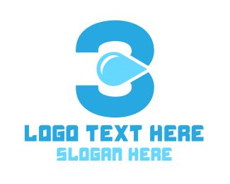 Gasoline - Blue Three Water logo design