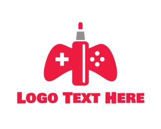 Nicotine - Red Vape Gaming logo design