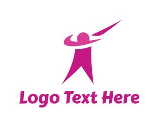 Physical Training - Pink Human Swoosh logo design