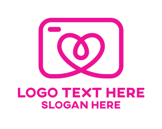 Photo Booth - Pink Heart Camera  logo design
