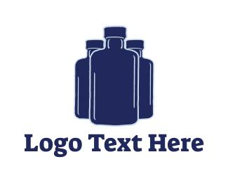 Bottle Shop - Apothecary Blue Bottles logo design