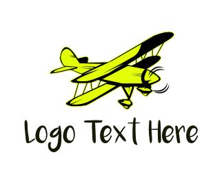 Propeller - Yellow Vintage Airplane logo design